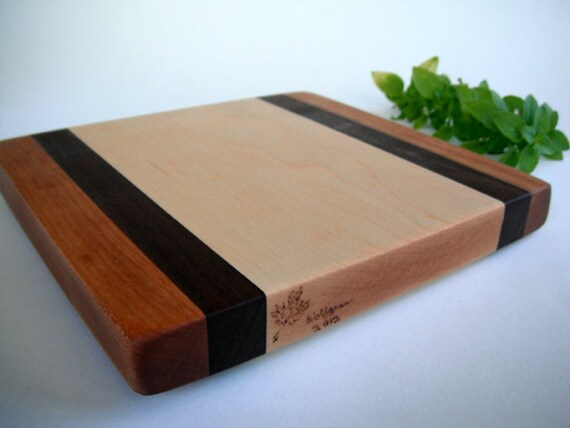 reclaimed cherry, black walnut and maple  cutting board