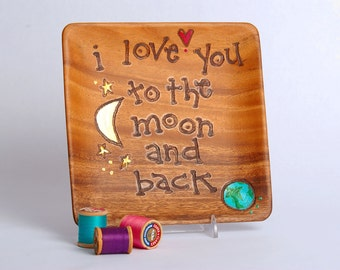 I Love You to the MOON AND BACK Plate for the Young and Old