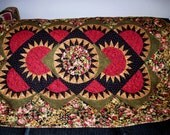 Sofa / lap/ Throw quilt  - Concentric Circles, New York Beauty with Dimension