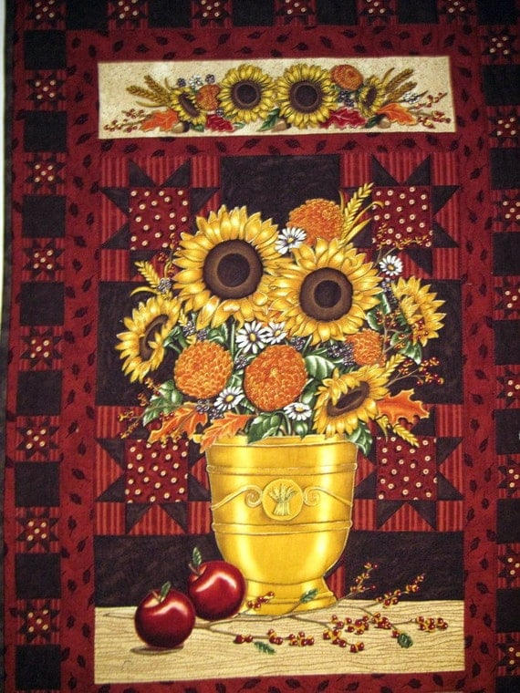 Wall hanging Urn of Sunflowers