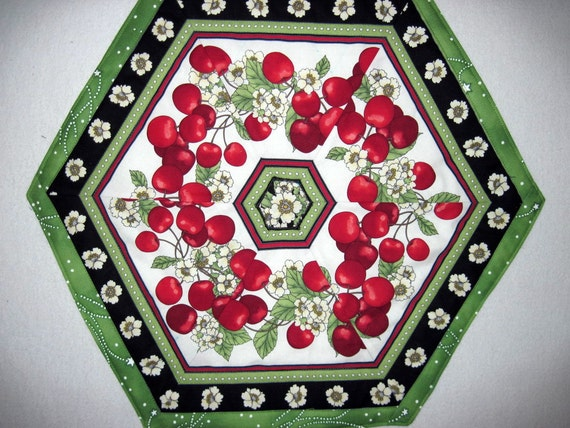 Candle Mat  Quilted Table topper  Cherries