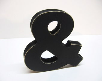 Wood Ampersand Sign - & - 5 Inch Shelf Sitter Style - Painted Black - Distressed - Typography - Wedding - CoWorker Gift - Corporate Gift