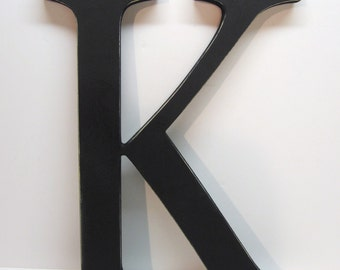 Wood Letter K Sign - 15 Inch  - Black - Distressed - Initial - Monogram - Personalized - Nursery Decor - Wedding Decor - Gallery Wall Decor