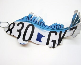 Minnesota Walleye Fish - Recycled License Plate Art - Cabin - Family Room - Guy Gift - Fisherman Gift - Father's Day Gift