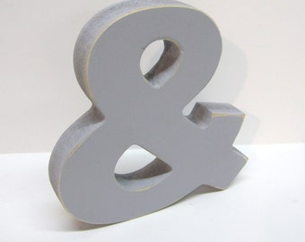 Wood Ampersand Sign - & - 5 Inch Shelf Sitter Style - Painted Grey - Distressed - Typography - Wedding - Corporate Gift - Coworker Gift
