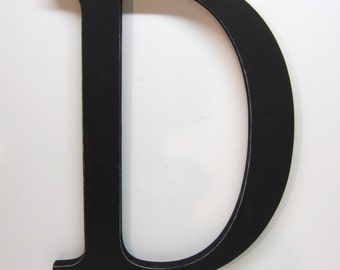 Wood Letter D Sign - 15 Inch - Black - Distressed - Initial - Monogram - Personalized - Nursery Decor -  Wedding Decor - Gallery Wall Decor