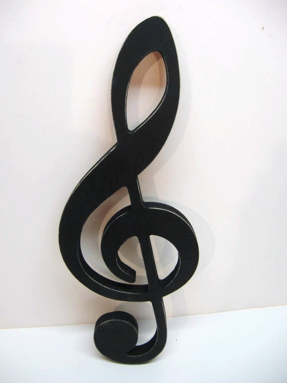 Black Wood Musical Note Treble Clef Wall Decor 15 Inches