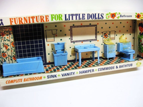 Vintage 1960's Doll Furniture Bathroom Set - NIP