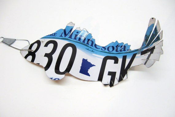 Minnesota walleye fish recycled license plate art cabin for Buy illinois fishing license online