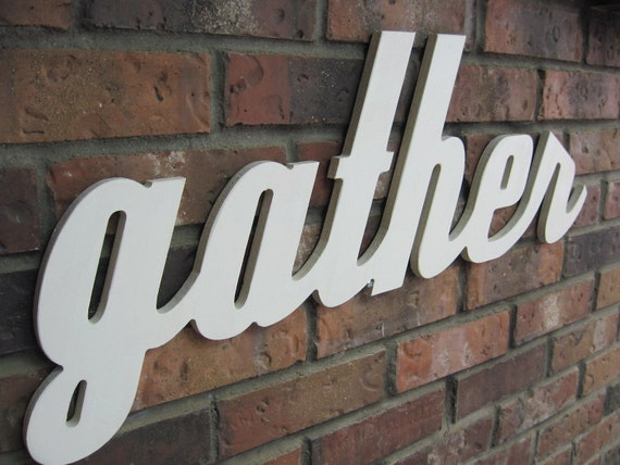 Off White Gather Sign - Wood Wall Decor - Family Room - Kitchen - 28 X 12 - Signage - Gallery Wall Decor - Thanksgiving and Holiday Decor