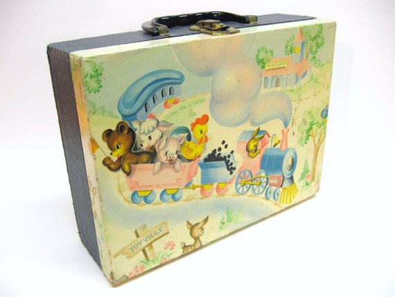 Adorable Vintage Child  Suitcase - Baby Animals & Toy Train Motif - Pastel - Cottage Sweet