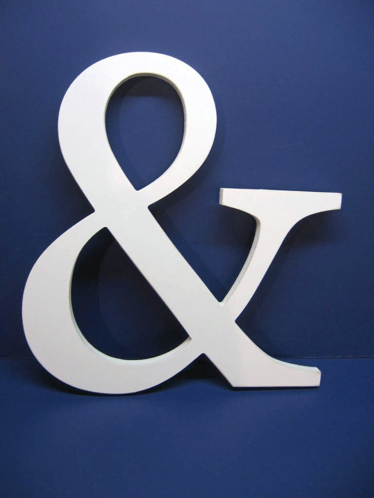Creamy white wood wall decor letter ampersand large 15 for Ampersand decor