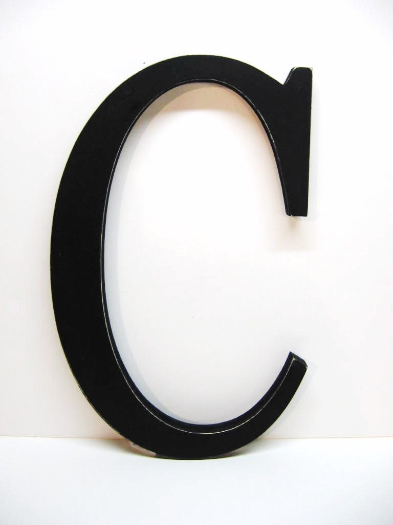 Letter C For Wall Wood Letter C Sign 15 Inch Black Distressed Initial