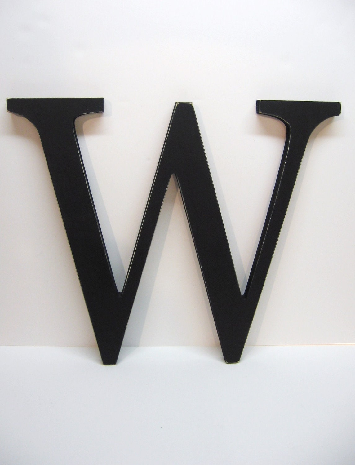 Wood Letter W Sign 15 Inch Black Distressed Initial