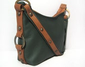 Small Leather Demi Bag - Pine Forest Leather - Terra Cotta Brown Leather Trim - ALLISON - Custom Orders Available