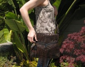 Leather Fringed - Feathered Cross Body Bag - Dark Chocolate Brown Floral Embossed Suede - BARBARA - Custom Orders Available