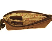 Large Wallet - Light Brown Faux Suede Floral Leather - Clutch - ANNIE