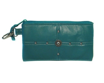 SALE - Turquoise Blue Lamb Leather Wallet - Upcycled Leather - Silver Studs - Clutch - ANNIE
