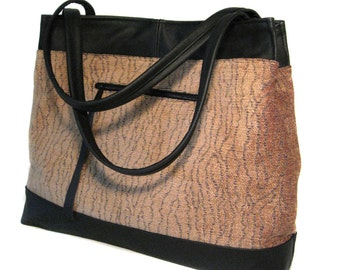 SALE! Large Leather Trimmed Tapered Handbag - Fawn Colored Chenille Fabric - Black Leather Trim - JUDIE