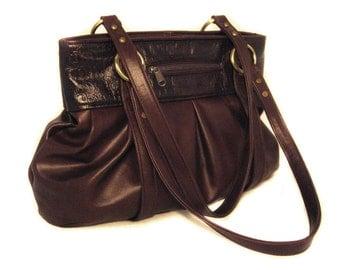 Chestnut Brown Leather Strapped-Pleated Shoulder Bag - Brown Croc Leather - Brushed Brass Hardware - SARAH