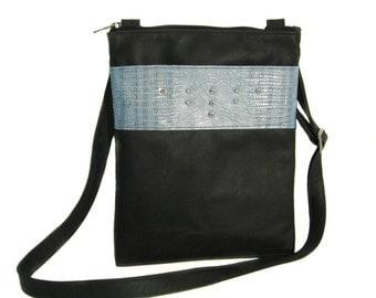 SALE Leather iPad or Tablet Messenger Bag - Grey and Blue Croc Leather - Silver Stud Detail - SASHA