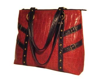 SALE Large Leather Shoulder Bag - Red Croc Leather - Black Trim - CELESTE