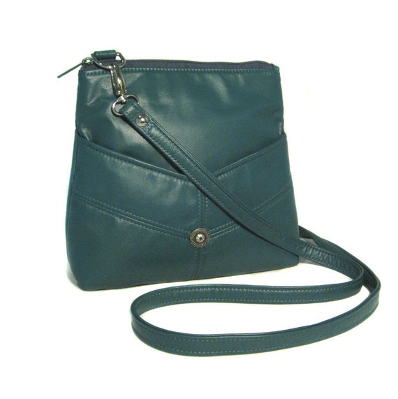 Leather Slim-Line Messenger Bag -  Peacock Teal Leather - Convertible Strap - MICHELLE - Custom Orders Available