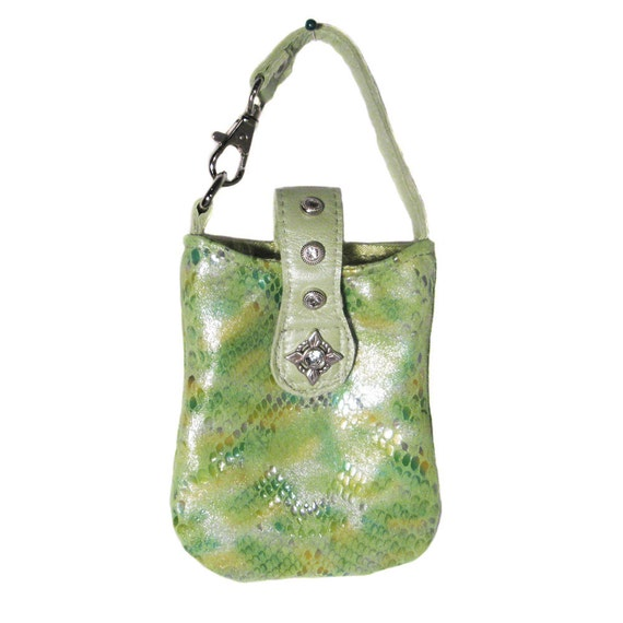 Leather iPhone or iPod Pouch - Lime Green Snake Embossed Leather - PANDORA - Custom Orders Available