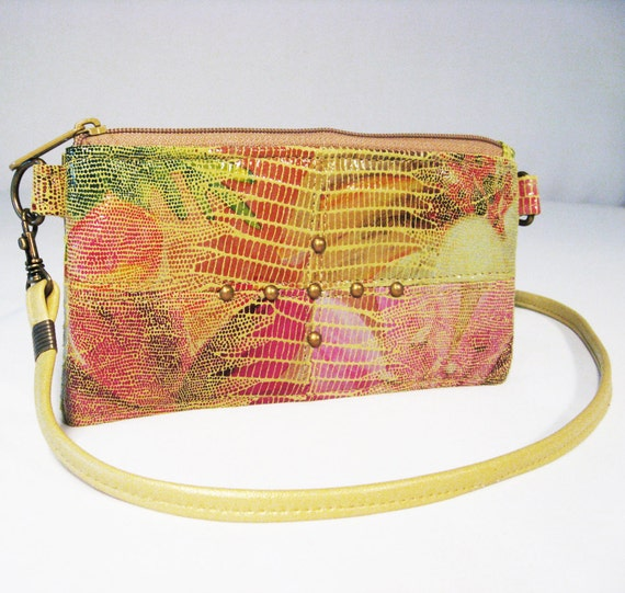 Watercolor Leather Wallet - Small Messenger - Multi Color Snake Embossed Upcycled Leather - ANNIE - Custom Orders Available