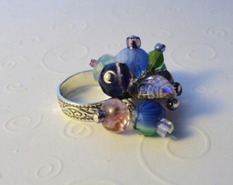 Colorful Glass Kinetic Bead Ring Sterling Silver, Size 6
