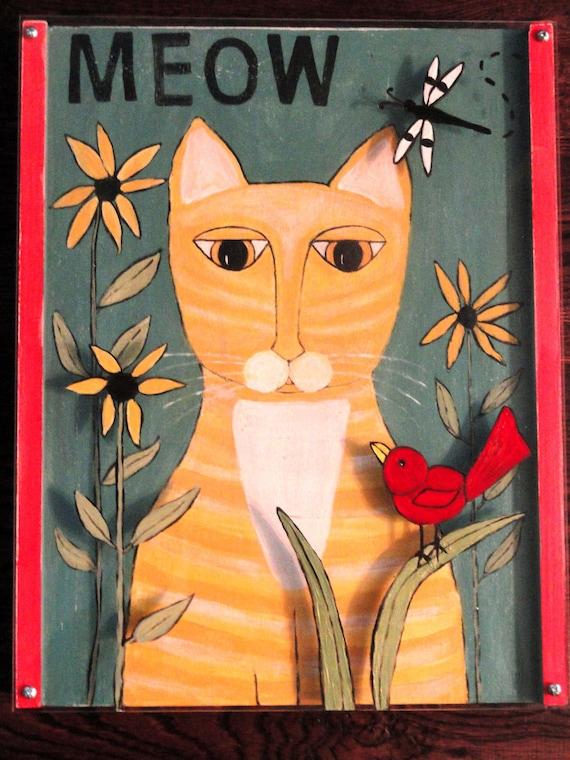 Original Dimensional Cat Folk Art Painting Tabby Cat on Wood