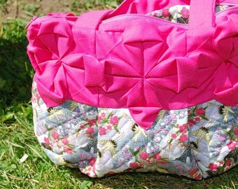 SALE: Pink  Origami Flowers on a Japanese quilted Crane Print Purse