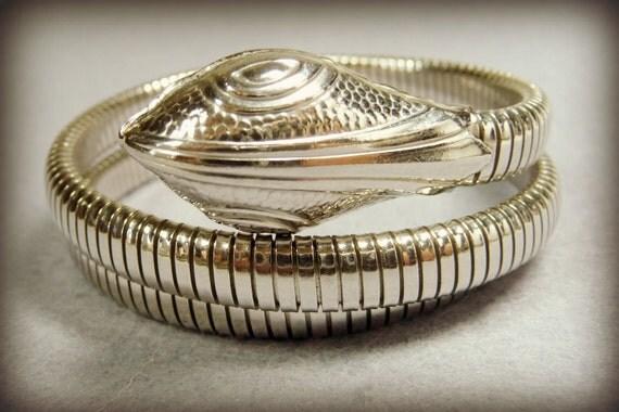 Triple Coil Silver Snake Bracelet Unsigned Forstner Style