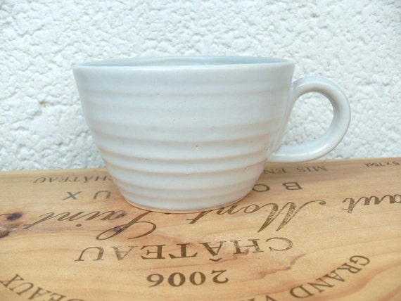 Big Coffee Mug in White with a hint of blue Celadon glazed stoneware
