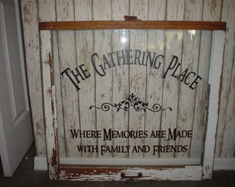 Family  wall decal The Gathering Place vinyl lettering wall word Quotes decals crafts vintage DIY primitive