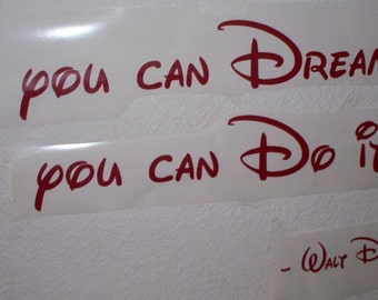disney wall decal quote  If you can Dream it  you can do it Vinyl lettering wall word  children nursery baby