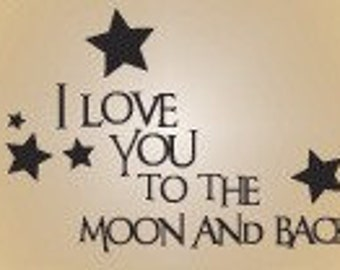 Vinyl wall decal quote children I love you  moon and back disney