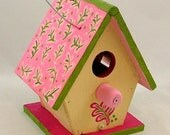 Handpainted Pink Fern Birdhouse