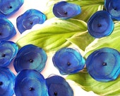 Sew on appliques, satin, organza handmade fabric flowers, floral embellishments, wedding craft supplies (15pcs)- ROYAL BLUE