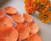 Handmade satin, sheer voile sew on flower appliques (15pcs)- ORANGE ZINNIA BLOSSOMS