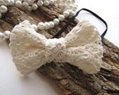 Elastic headband with handmade ribbon bow- OFF WHITE LACE