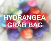 Satin fabric handmade sew on flower appliques, floral embellishments, bridal craft supplies (10 pcs)- HYDRANGEA GRAB BAG