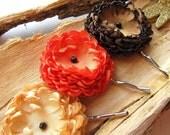 Handmade bobby pins with satin flowers (set of 3 pcs) - LITTLE DAHLIA GARDEN ( Buttercream Yellow- Hot Orange- Mocha Brown) (h12)