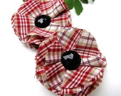 Shoe clips with handmade fabric flowers (set of 2 pcs )- RED PLAID COTTON (s8)