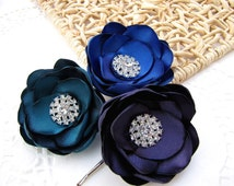 Handmade bobby pins with fabric flowers with rhinestone buttons (set of 3 pcs) -PEACOCK THEME WEDDING ( Teal- Royal Blue- Eggplant )