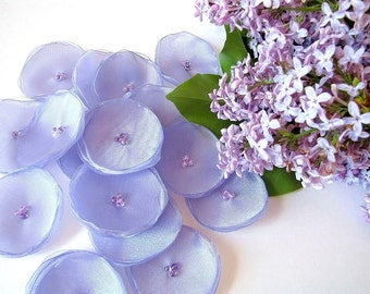 Handmade organza sew on flower appliques (15pcs)- BOUQUET of LILAC BLOSSOMS