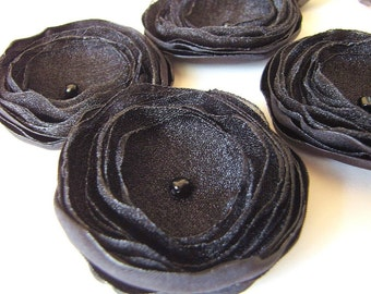 Tiny and Thick...Handmade organza satin sew on flower appliques (4pcs)-  SHIMMERY BLACK
