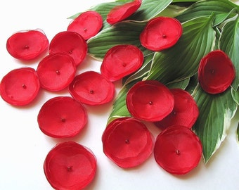 Handmade fabric appliques- Satin organza sew on flower embellishments (15 pcs)- RED ROSES