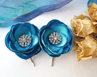 Bridal bobby pins with fabric flowers with rhinestone buttons, floral hair pins, fabric flowers (set of 2 pcs) - BRIDAL TURQUOISE BLOSSOMS
