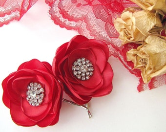 Handmade bobby pins with fabric flowers with rhinestone buttons  (set of 2 pcs) - BRIDAL RED BLOSSOMS